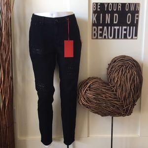Jennifer Lopez black super skinny stretch jeans